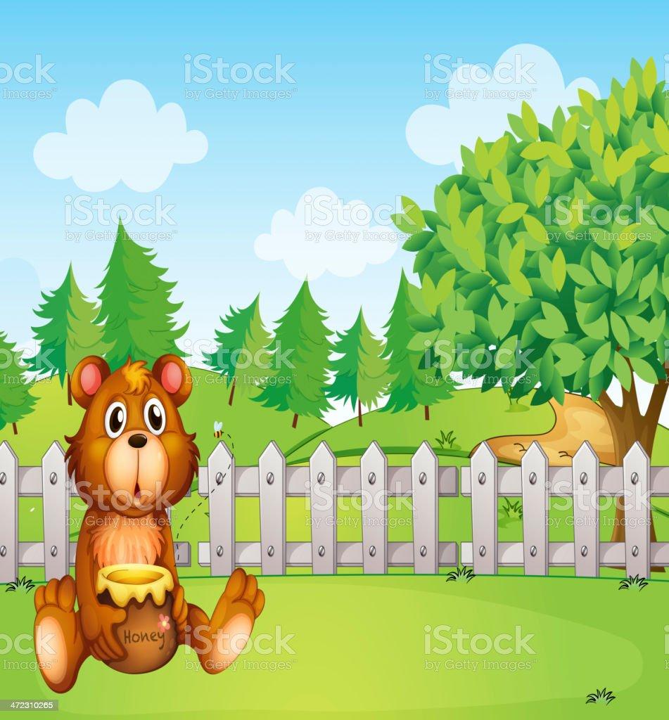 Bear inside the fence holding a pot of honey royalty-free stock vector art