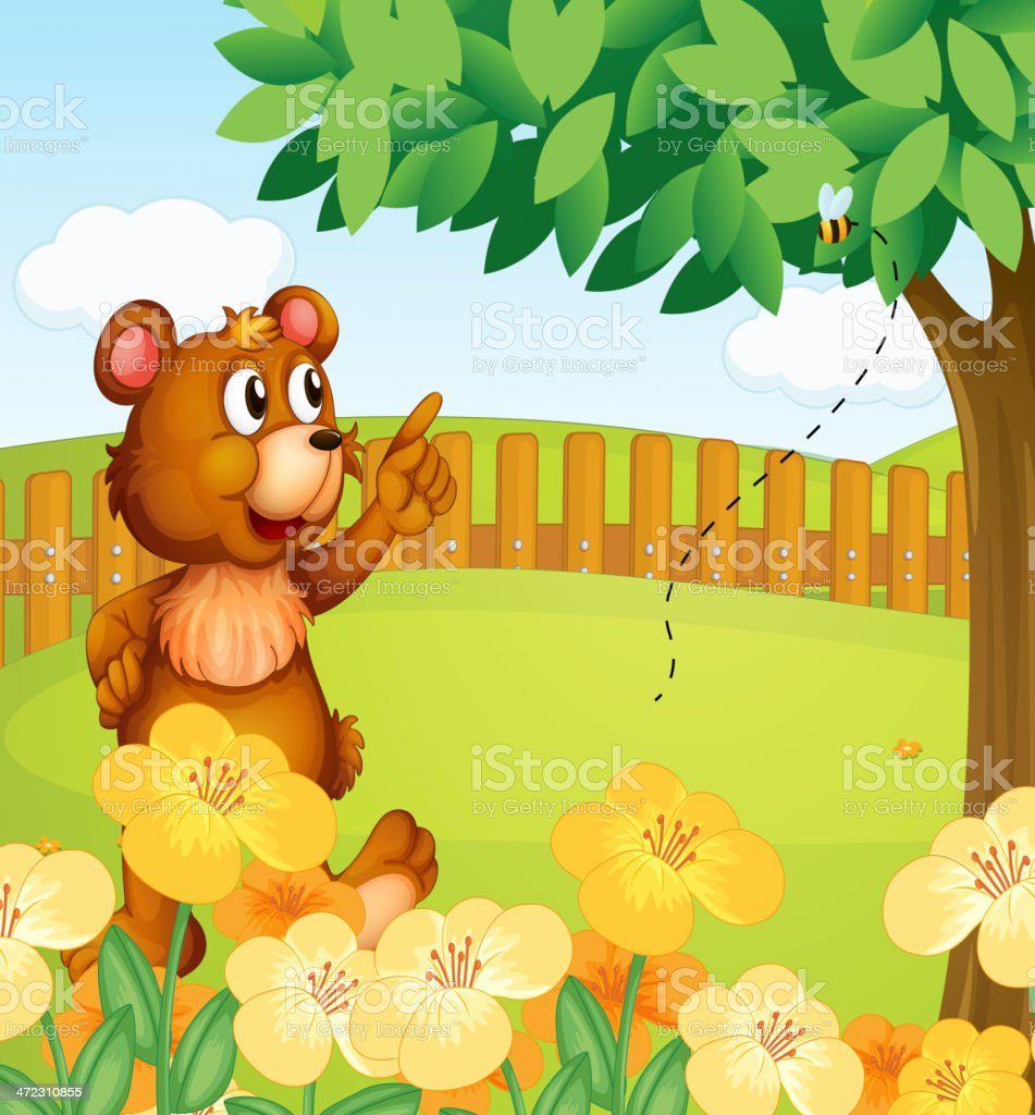 Bear inside the fence pointing a bee royalty-free stock vector art
