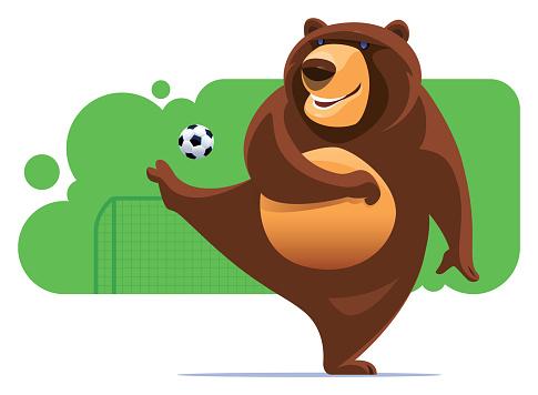 bear kicking soccer ball