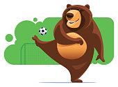 vector illustration of bear kicking soccer ball