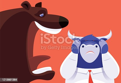 vector illustration of bear laughing at businessman bull