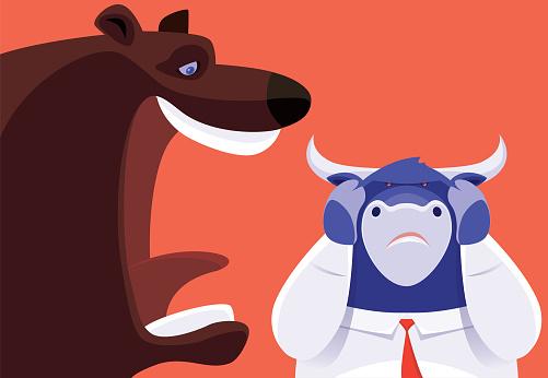 bear laughing at businessman bull