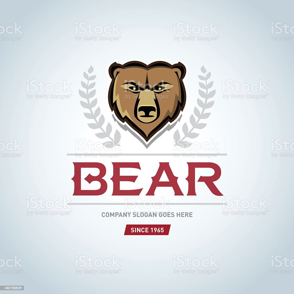 bear logo template animal head symbol grizzly mascot team logo stock