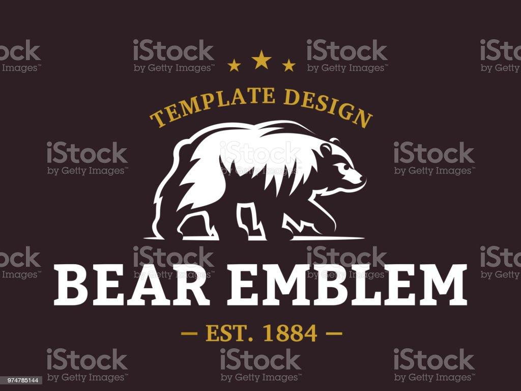 Bear logo - vector illustration, emblem design on brown background
