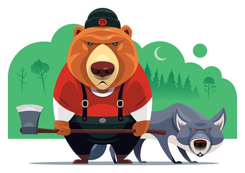 bear lumberjack with wolf