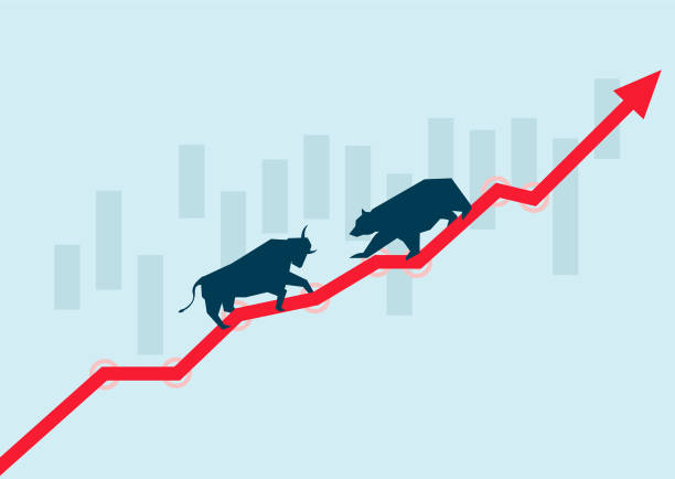 stockillustraties, clipart, cartoons en iconen met dragen van de markt en de bullmarkt in de aandelenmarkt, de waardering en de devaluatie - bullmarkt