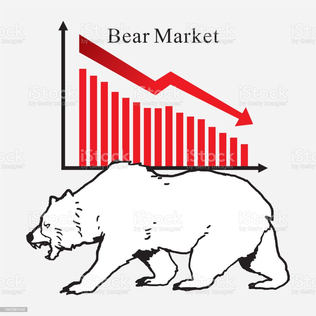 Bear market symbols of stock market trends. Vector illustration