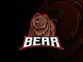 Bear animal mascot vector illustration logo. Wild grizzly bear mascot, Emblem design for esports team. Vector illustration