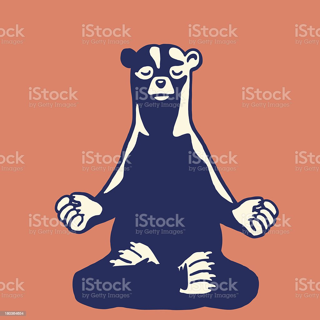 Bear Meditating vector art illustration