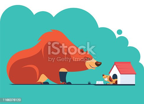 vector illustration of  bear meeting angry dog