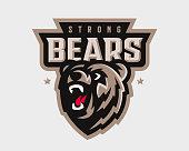 Bear modern logo. Grizzly design emblem template for a sport and eSport team.