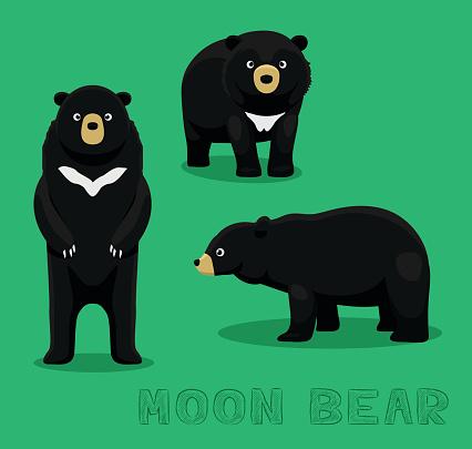 Bear Moon Bear Cartoon Vector Illustration