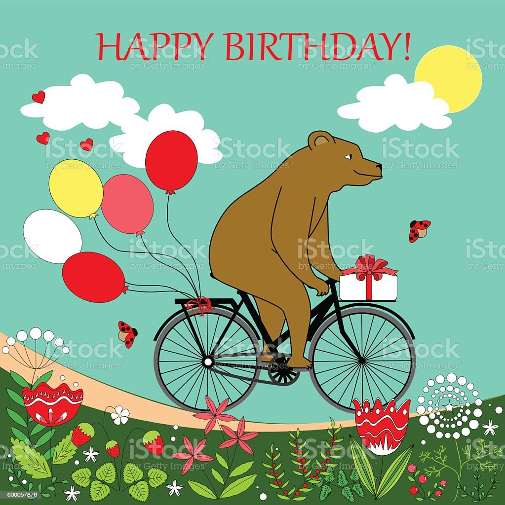 Happy Birthday Card Lizenzfreies Bear On A Bicycle