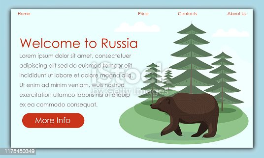 Bear on Background Spruce in Wood. Welcome to Russia. Vector Illustration. Travel Agency. Tourism Development. Postcard Representing Country. Website Page on Blue Background. Screen Monitor.