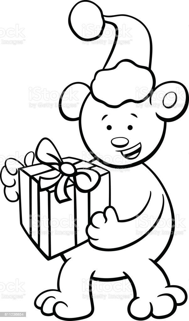 Ilustración de Oso Navidad Para Colorear Libro y más banco de ...
