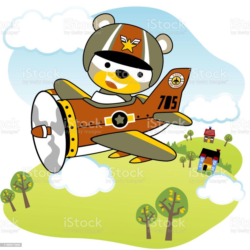 Bear On Military Plane Flying High Kids T Shirt Design