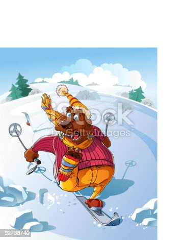 The Bear goes on ski with mountains. He has lost one ski and he yells from fear.  See more from