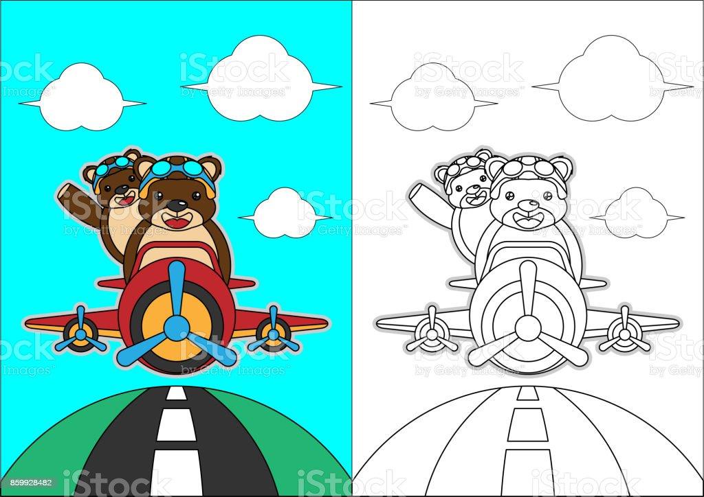 Ilustração De Sobre O Desenho De Avião Para Colorir Livro