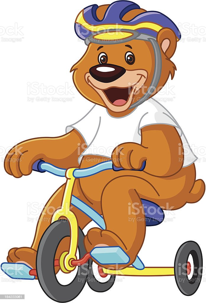 Bear on tricycles vector art illustration