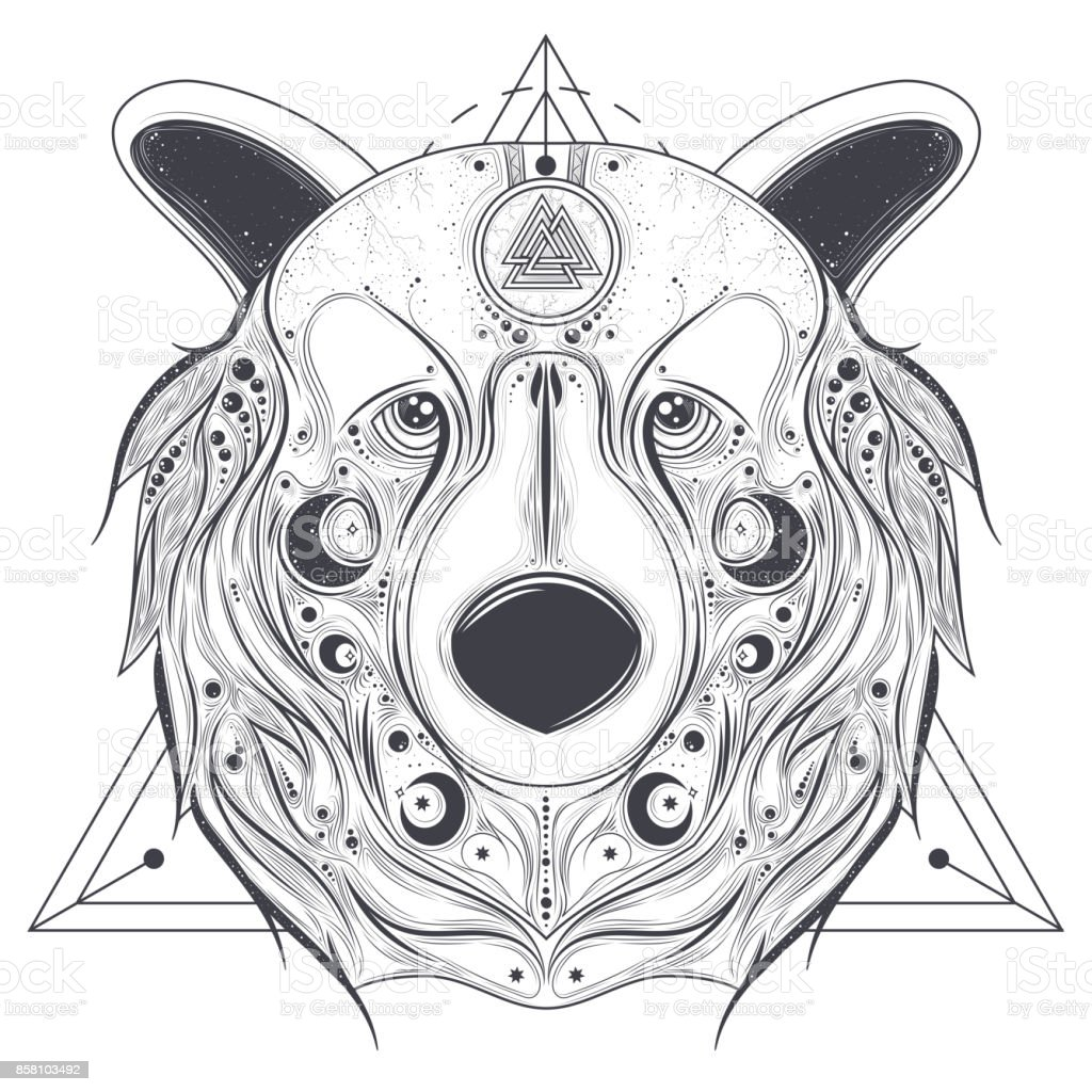 Bear ornamental head with valknut line art vector vector art illustration