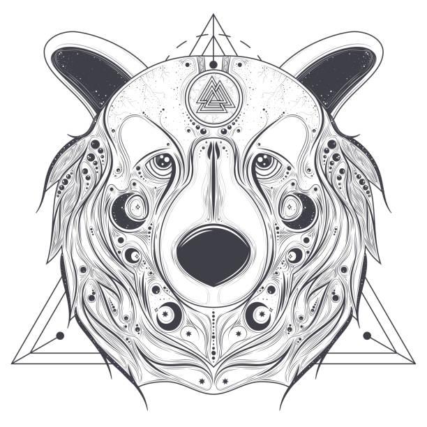 illustrations, cliparts, dessins animés et icônes de portent la tête ornemental avec vecteur d'art ligne valknut - tatouages celtiques