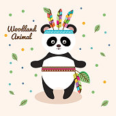 bear panda woodland animal with feather crown