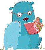 Animal cartoon, teddy read and education, vector illustration