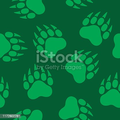 Vector illustration of bear paw prints in a repeating pattern against a green background.