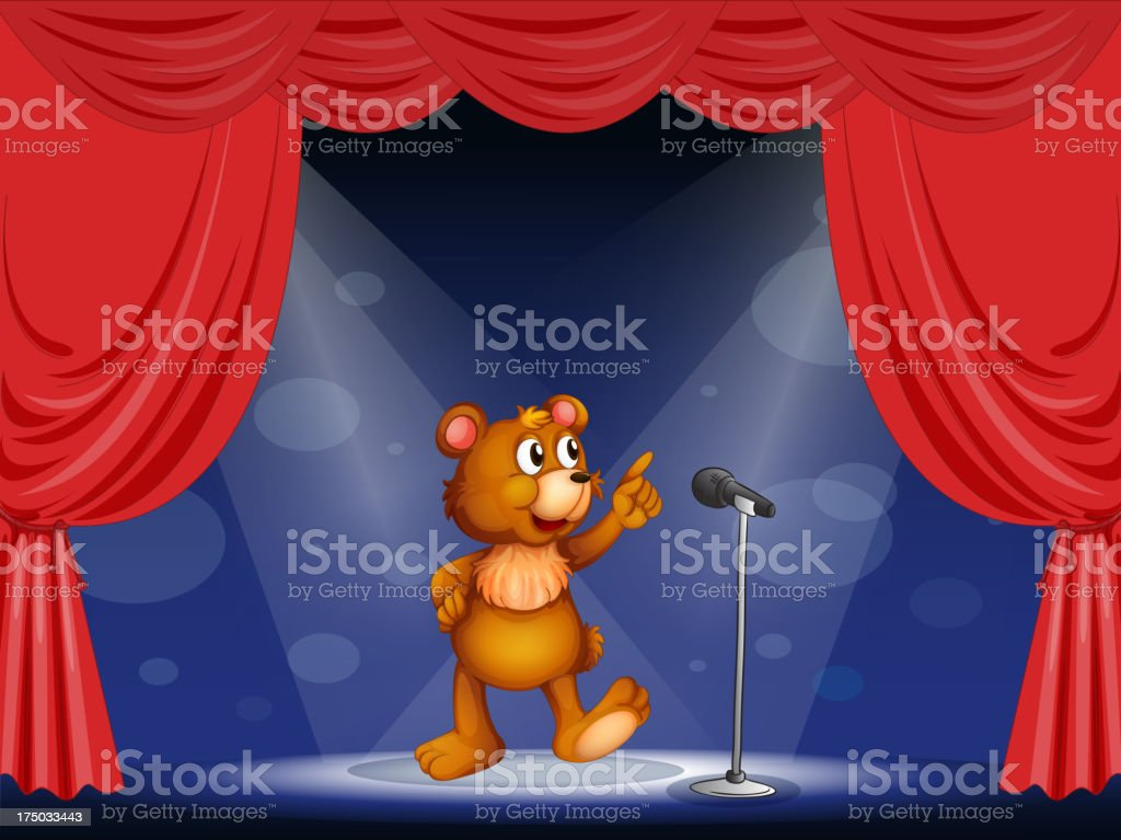 bear performing on the stage royalty-free stock vector art