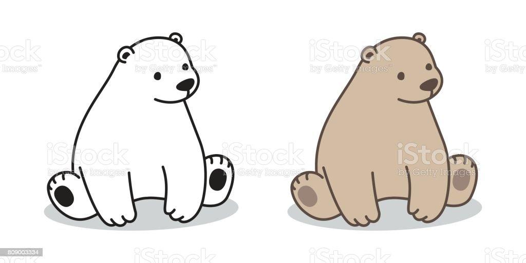 Bear Polar Bear cartoon sitting Vector illustration doodle vector art illustration