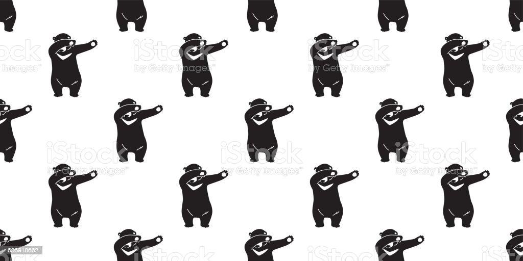 Bear Polar Bear Dab Dance Seamless Pattern Wallpaper / Background vector art illustration