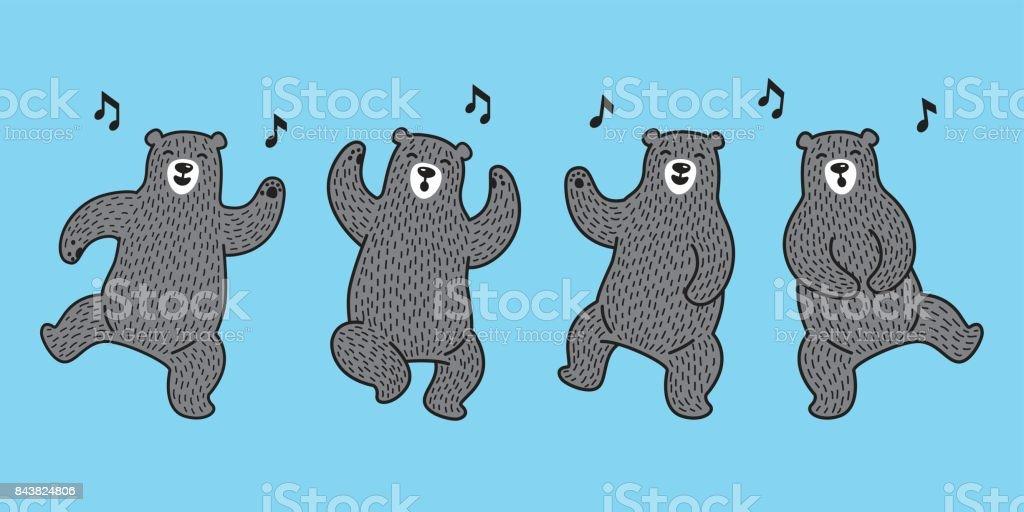 Bear Polar Bear Dance Illustration Vector Doodle Wallpaper
