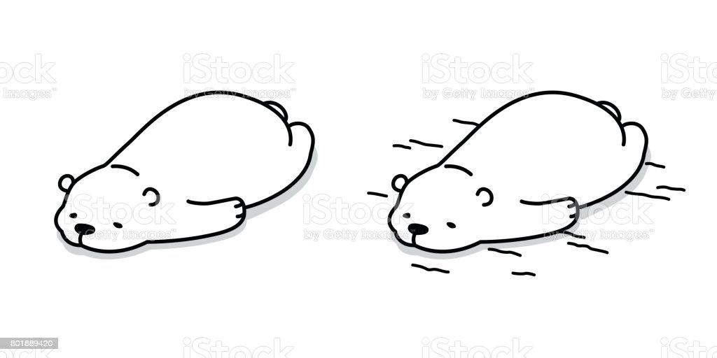 Bear Polar Bear Sleep on the floor Vector illustration cartoon vector art illustration