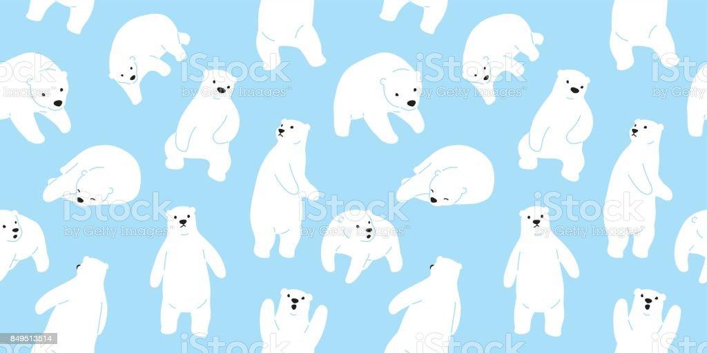Bear polar bear teddy doodle vector seamless pattern wallpaper background vector art illustration
