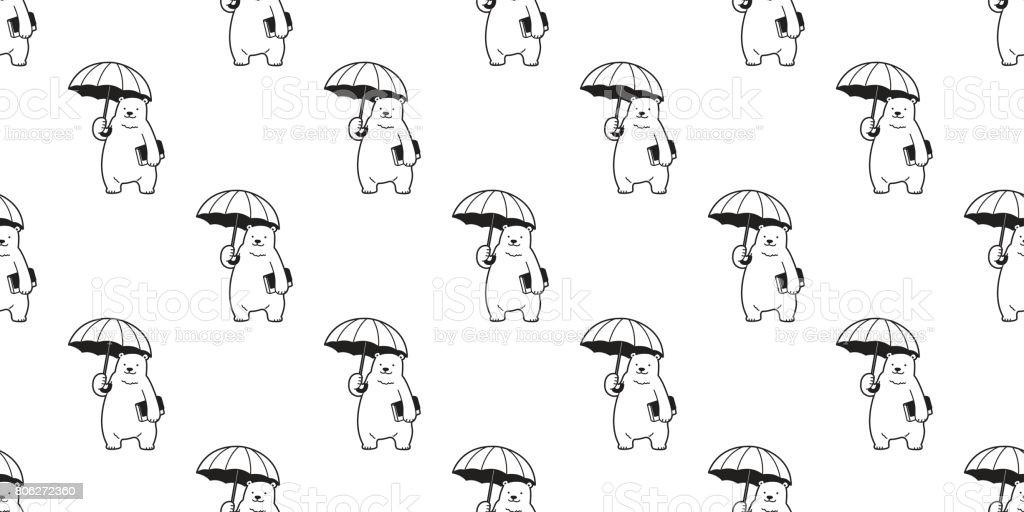 Bear Polar Umbrella Seamless Pattern Wallpaper Background Royalty Free