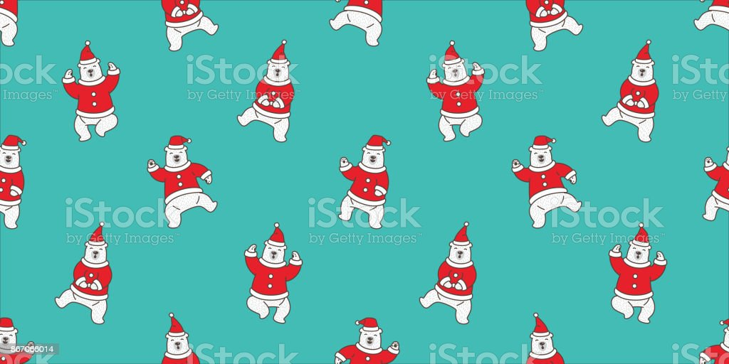 Bear Polar Dance Santa Claus Hat Christmas Seamless Pattern Vector