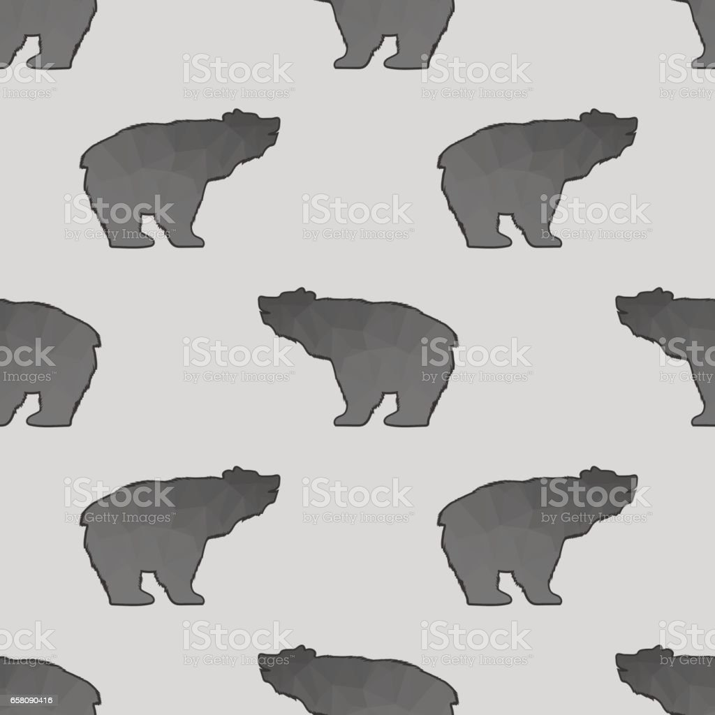 Bear Polygonal Seamless Pattern royalty-free bear polygonal seamless pattern stock vector art & more images of alaska - us state