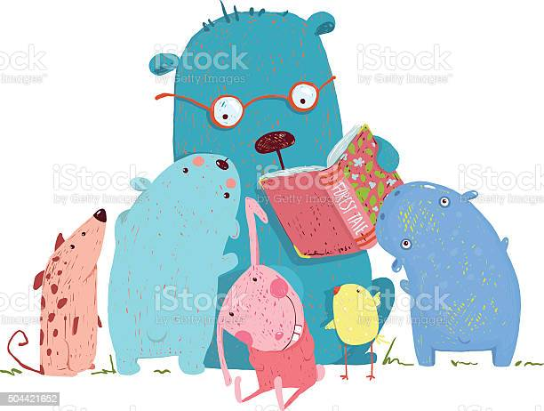 Bear reading book for group of animal kids vector id504421652?b=1&k=6&m=504421652&s=612x612&h=jtrw7votyvgyz1kkqnxbwka jdzpovznyz5cbqhhufw=