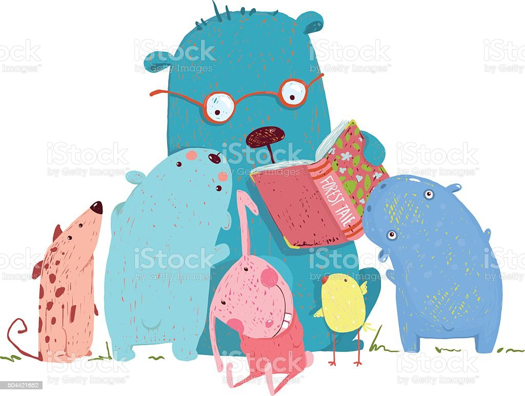 Bear Reading Book for Group of Animal Kids vector art illustration