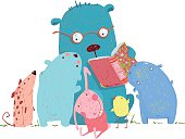 Bear Reading Book for Group of Animal Kids