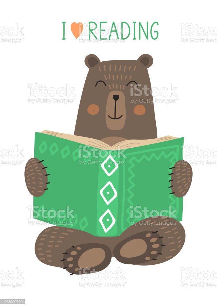 bear reading book stock vector art more images of animal 953929702