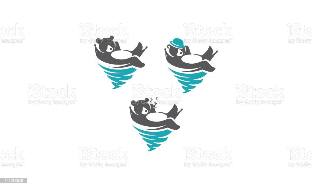 bear relaxed vector icon logo vector art illustration