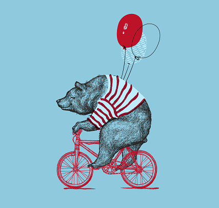Bear Ride Bike Balloon Vector Grunge Print. Hipster Mascot Cute Wild Grizzly in Striped Vest on Bycicle Isolated. Blackwork Tattoo Animal Character Outline Sketch. Teddy Design Flat Illustration
