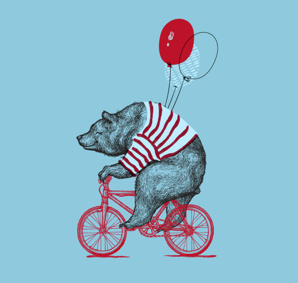 bear ride bike balloon vector grunge print. hipster mascot cute wild grizzly in striped vest on bycicle isolated. blackwork tattoo animal character outline sketch. teddy design flat illustration - wildlife travel stock illustrations, clip art, cartoons, & icons