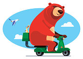 vector illustration of bear riding scooter with hare