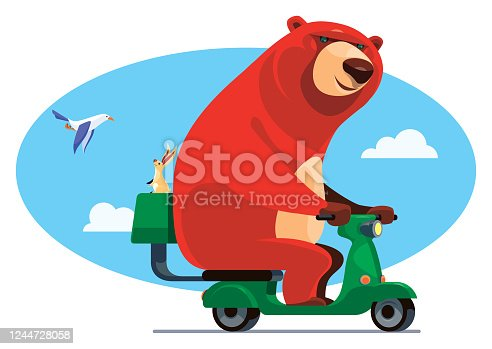 istock bear riding scooter with hare 1244728058