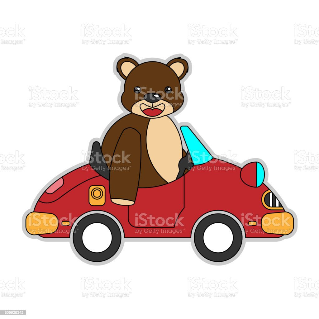 Bär Reiten Auto Cartoon Stock Vektor Art Und Mehr Bilder Von Auto