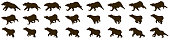 Bear running animation sprite sheet, run cycle, loop animation, animal
