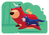 vector illustration of bear running with friends