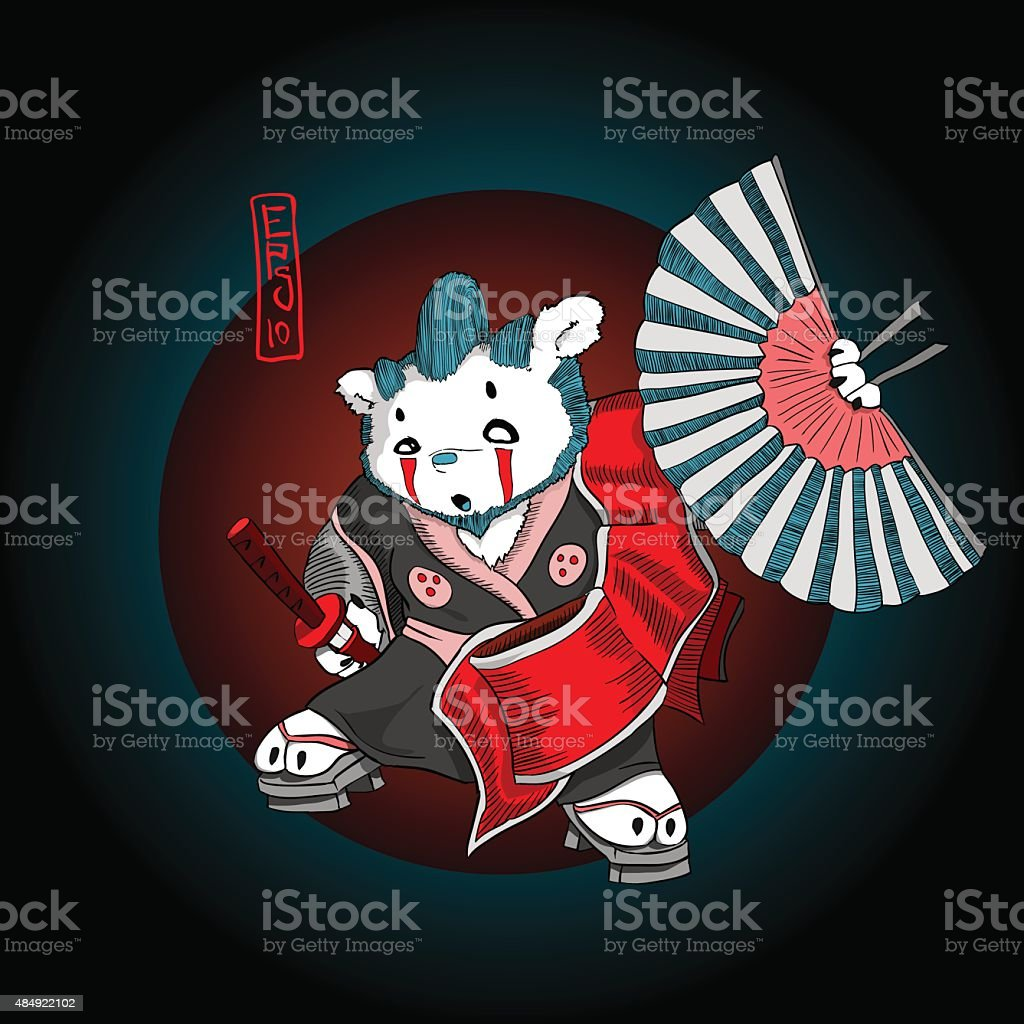 Bear samurai vector art illustration